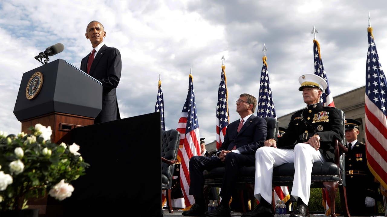 President Barack Obama speaks at a memorial observance ceremony at the Pentagon, Sunday, Sept. 11, 2016, to commemorate the 15th anniversary of the Sept. 11 attacks.
