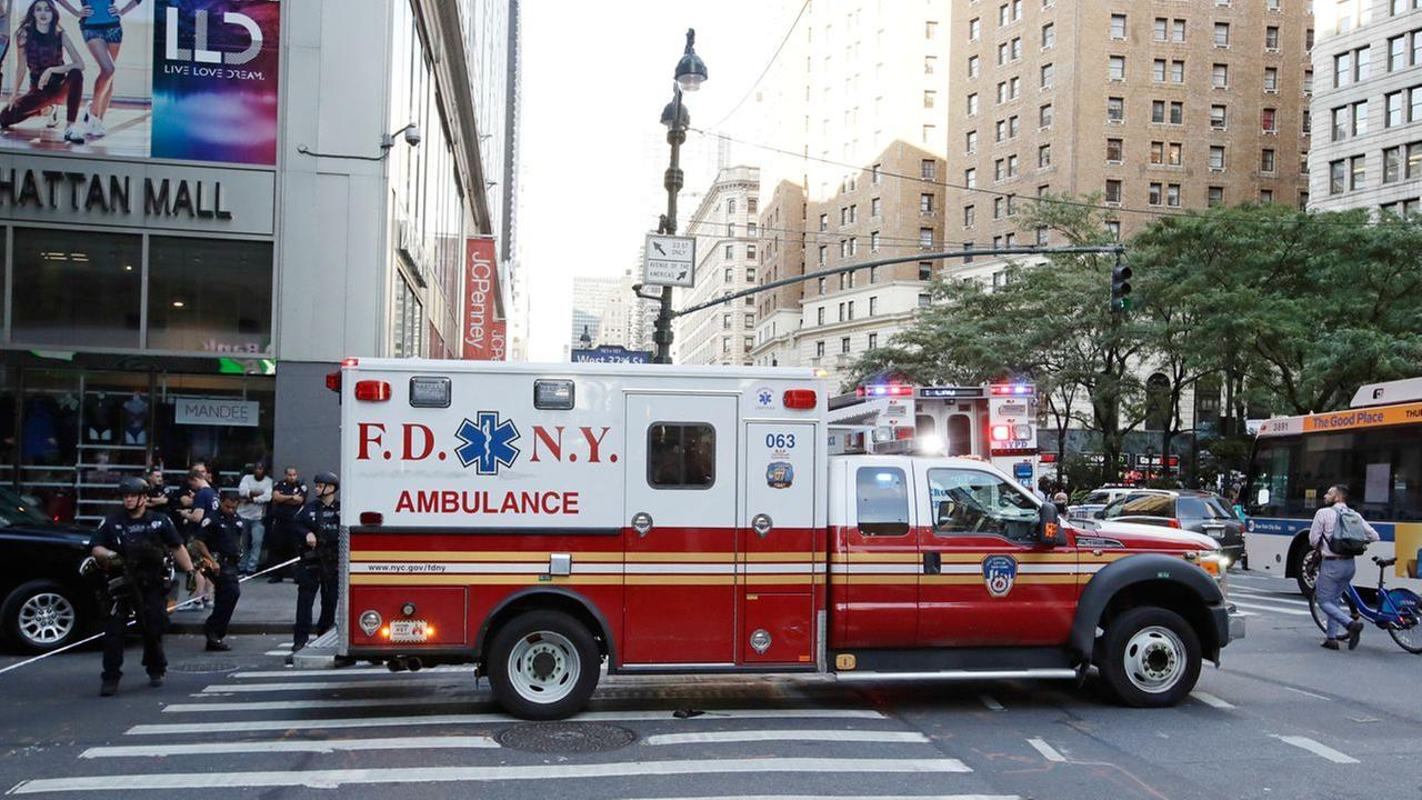 An ambulance leaves west 32nd street Thursday, Sept. 15, 2016, in New York.