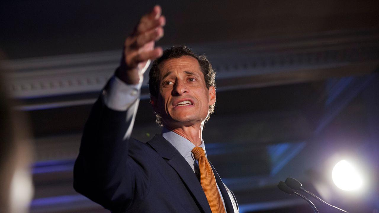 Democratic mayoral hopeful Anthony Weiner makes his concession speech at Connollys Pub in midtown Tuesday, September 10, 2013 in New York.