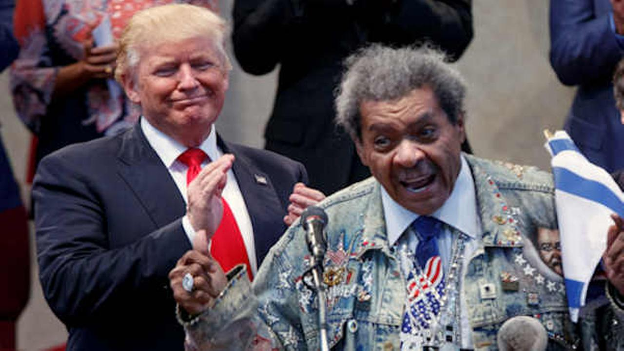 Donald Trump applauds as he is introduced by Don King prior to speaking at the Pastors Leadership Conference. (AP Photo/ Evan Vucci)
