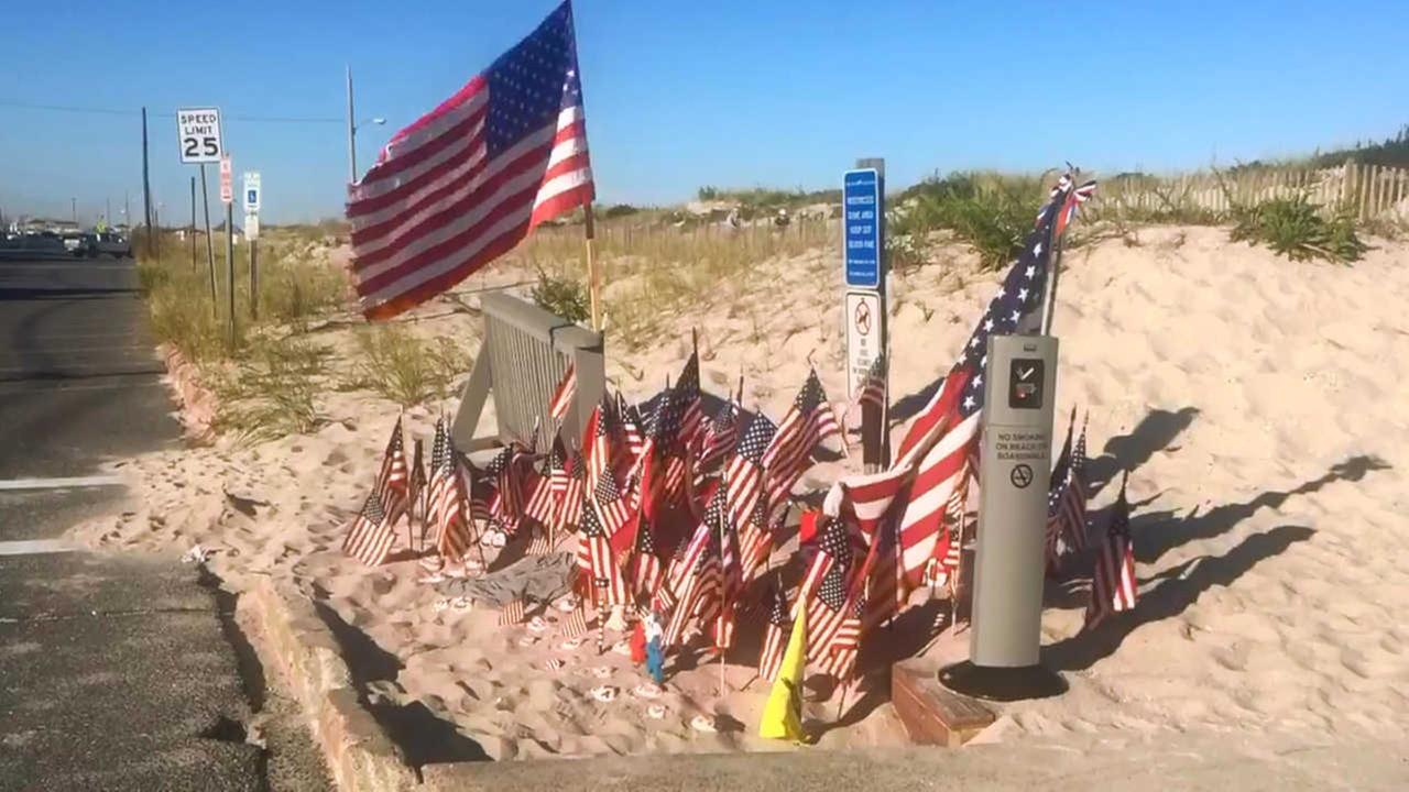 Seaside Park residents turn bombing site into makeshift memorial with American flags