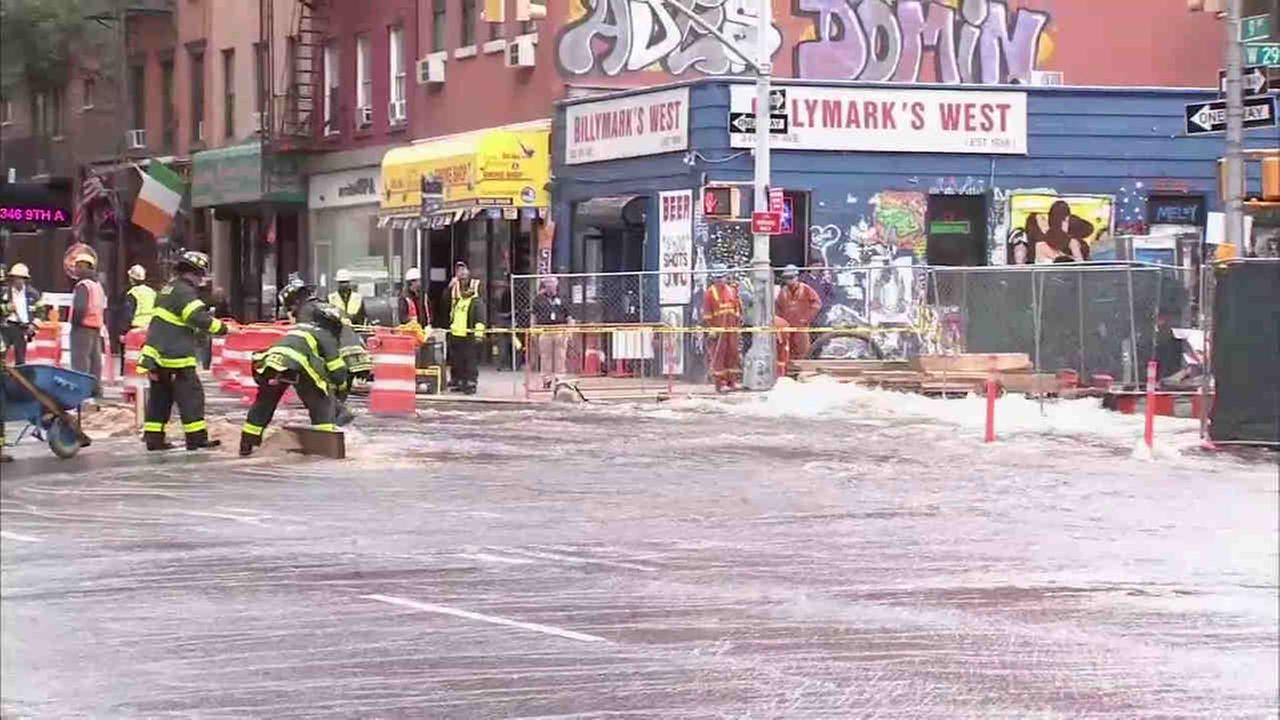 Firefighters were investigating a water main break in Chelsea Wednesday.