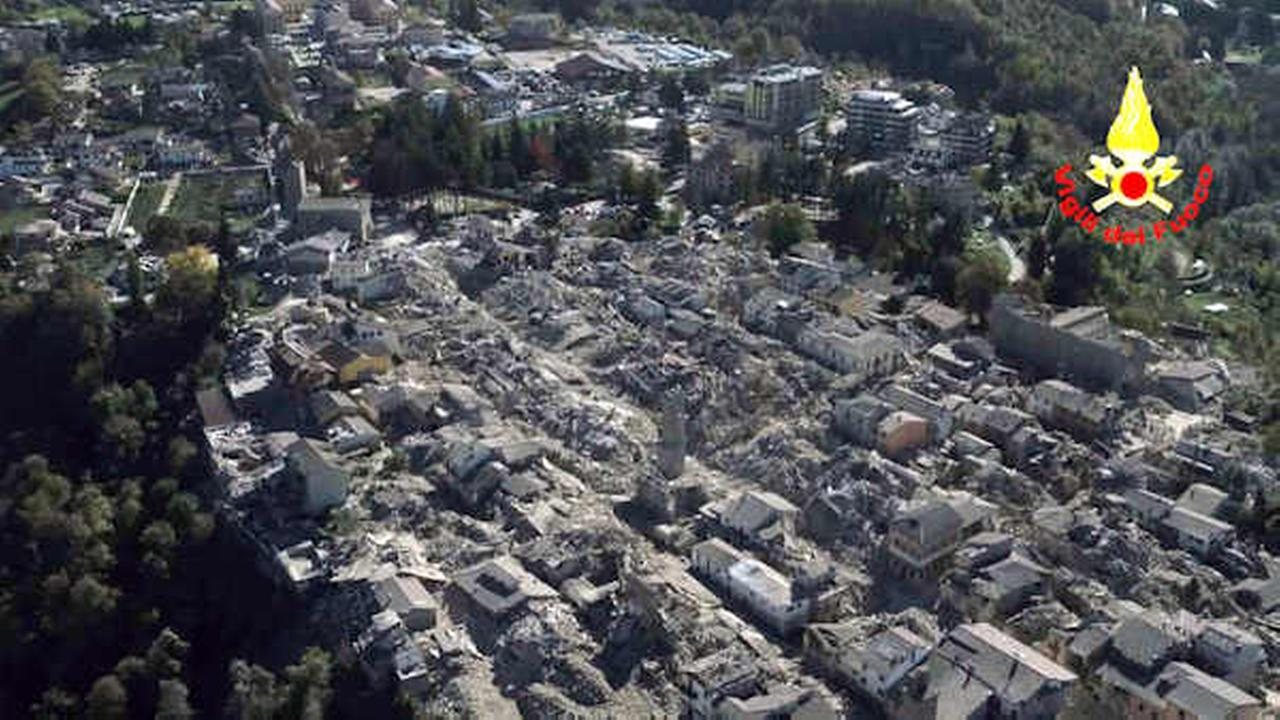 An aerial view of the destroyed hilltop town of Amatrice after an earthquake with a preliminary magnitude of 6.6 struck central Italy (Vigili Del Fuoco/Italian Firefighters via AP)