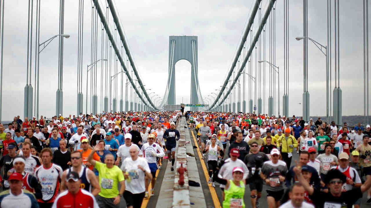 n this Nov. 1, 2009 file photo, runners cross the Verrazano Narrows Bridge at the start of the ING New York City Marathon in New York.