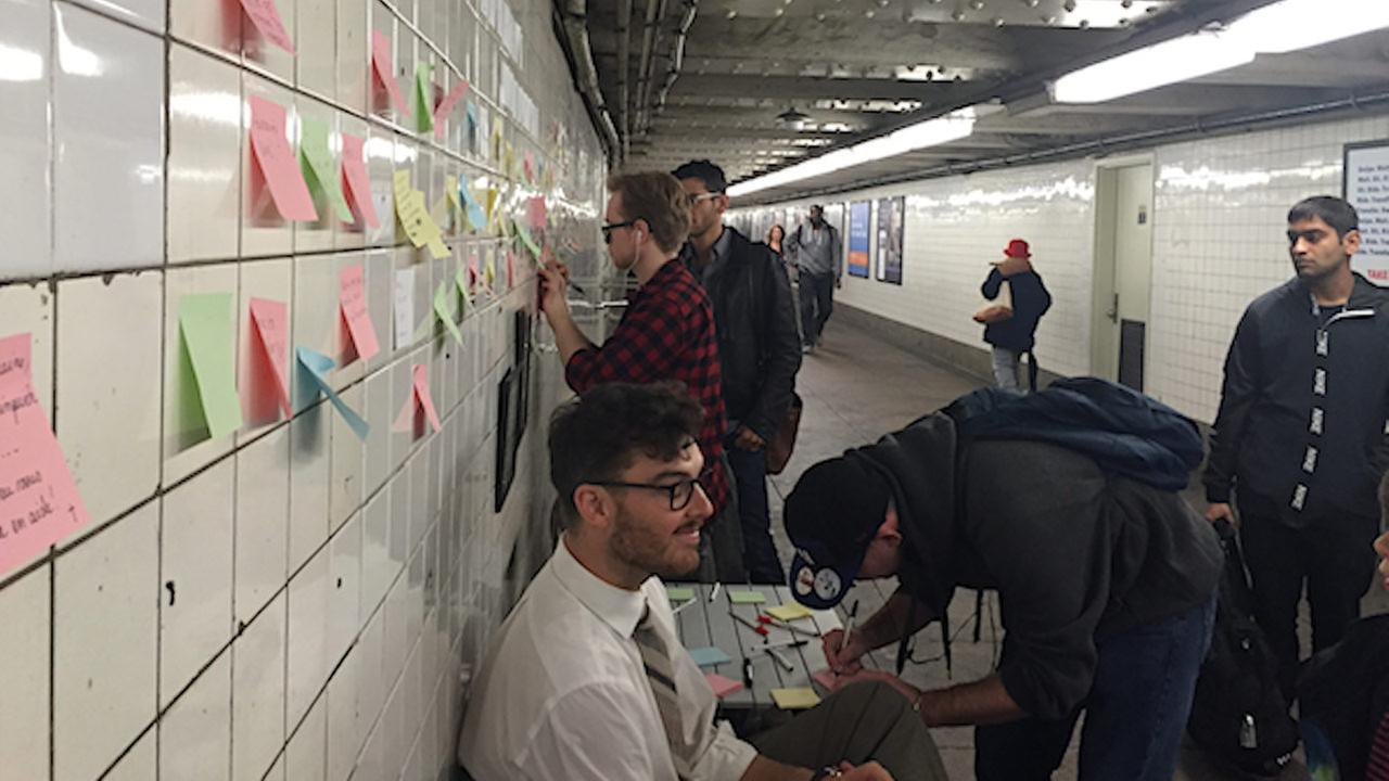 Emotional election Post-its cover subway station