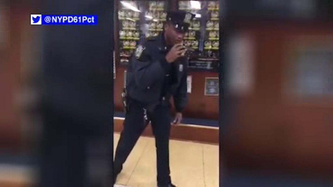 NYPD officers in Brooklyn do the 'Mannequin Challenge'