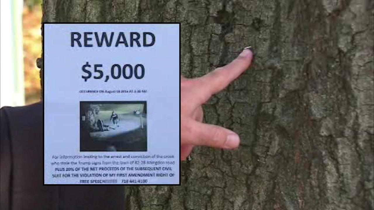 Queens man fined thousands for stapling fliers to trees looking for missing Trump signs