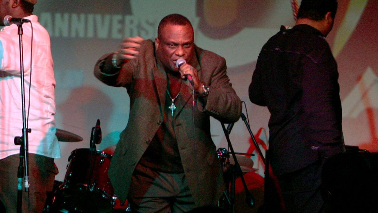 Tabou Combo lead singer Roger Euegene, better known as Shoubou, center, performs at Sounds of Brazil, SOBs, nightclub to kick off their 40th anniversary world tour April 12, 2008.