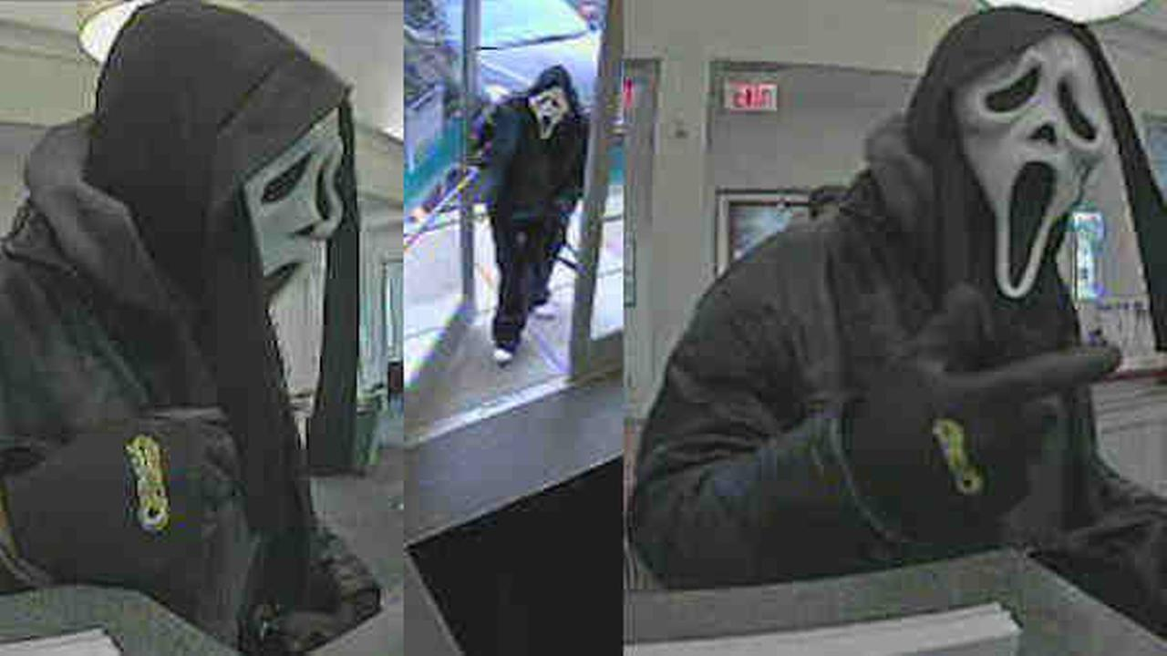 Police are looking for a person who wore a Scream mask while robbing a back in Norwalk.