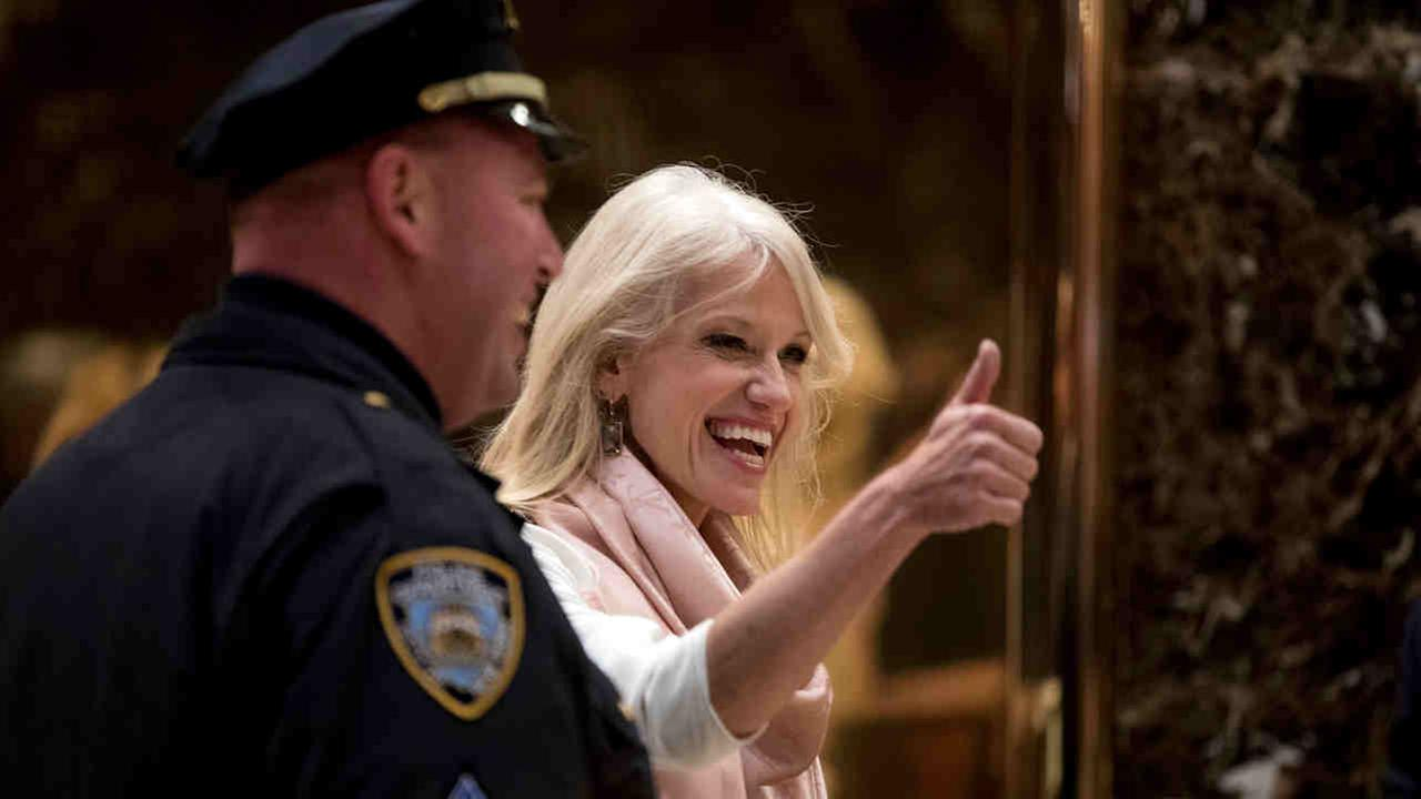 Kellyanne Conway, campaign manager for President-elect Donald Trump gives a thumbs up as she arrives at Trump Tower in Midtown Wednesday.