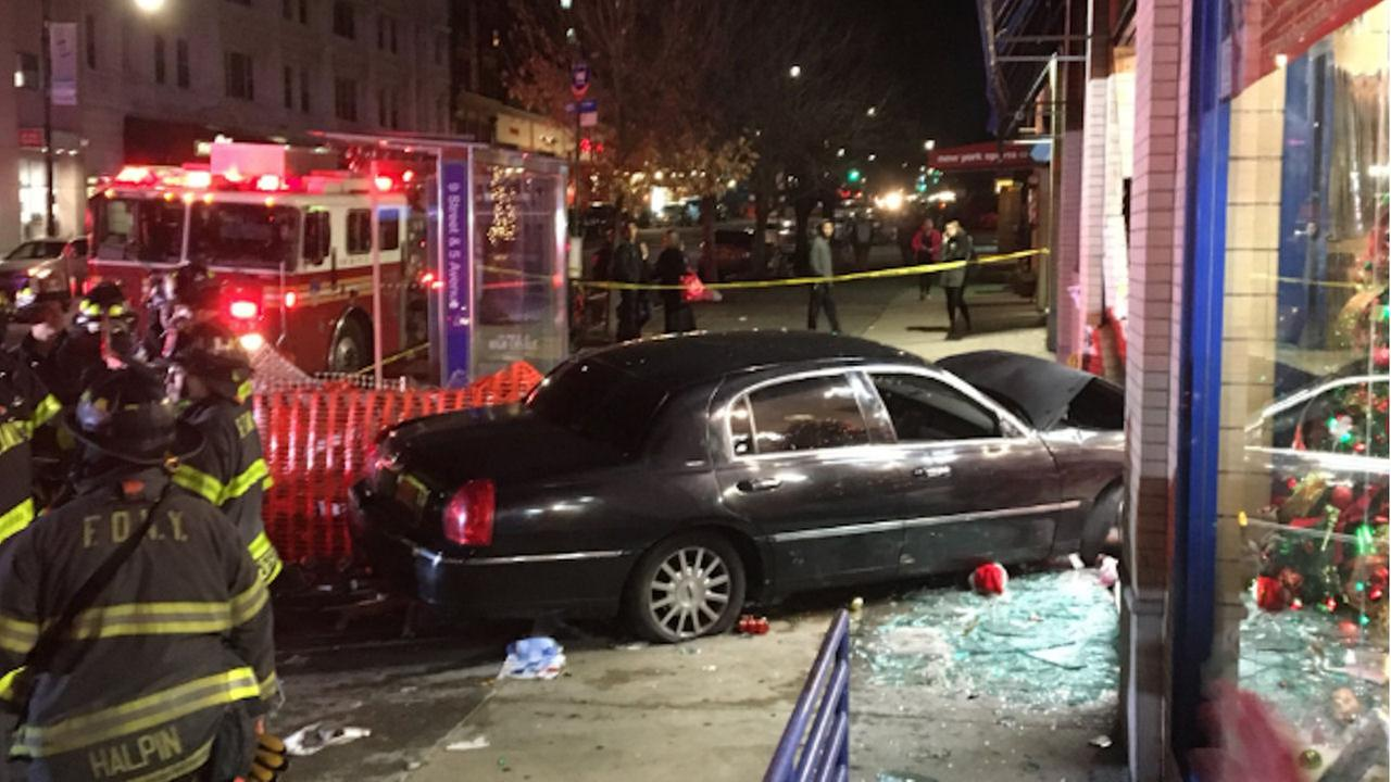 Three injured, two in serious condition, after car crashes into department store in Park Slope