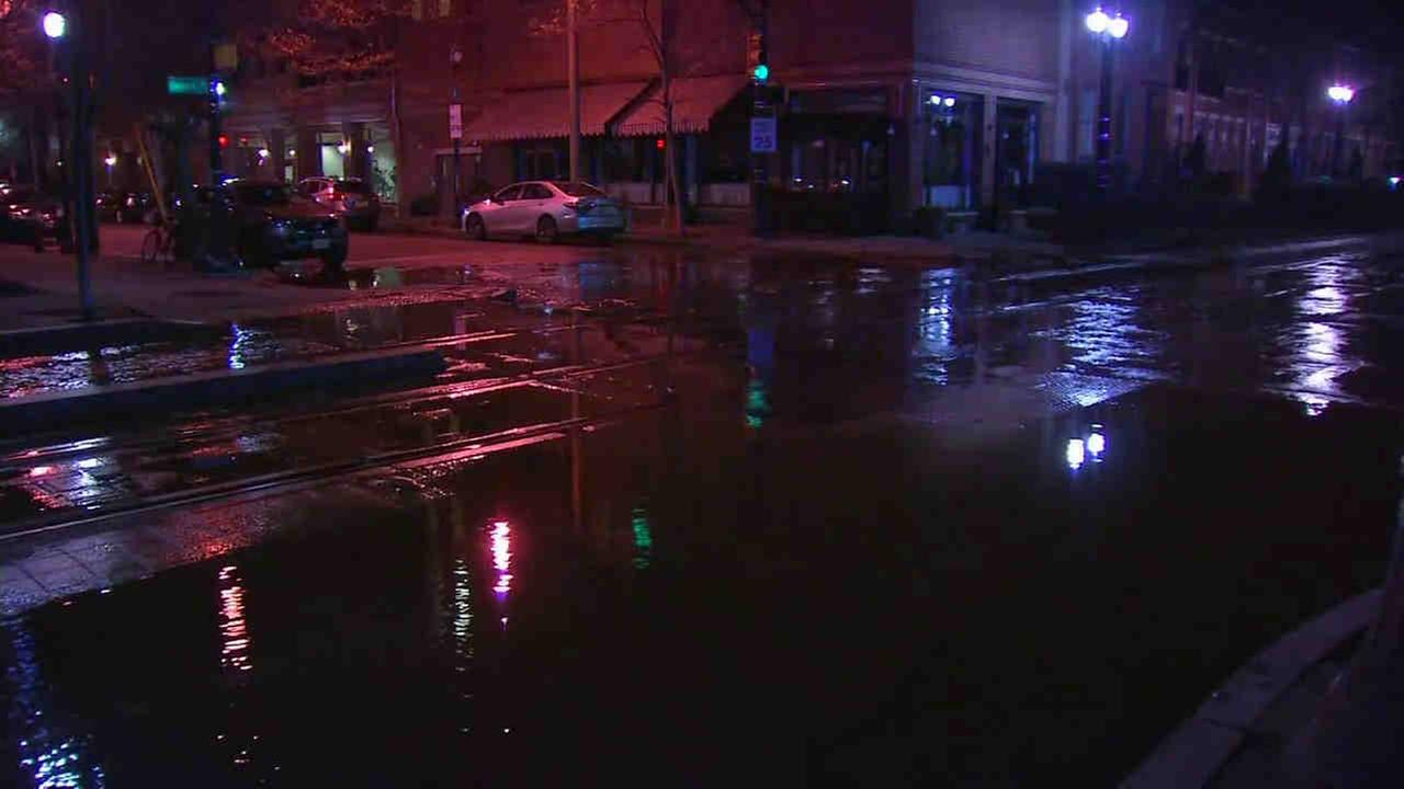 There was a water main break at Washington Street and Essex Street in Jersey City Tuesday morning.