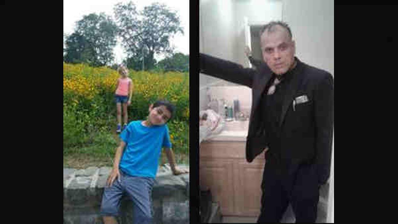 According to the Perth Amboy Police Department, Keira Grewal, 8, and Gianno Grewal, 9, are missing. They were last seen with Frank John (right).