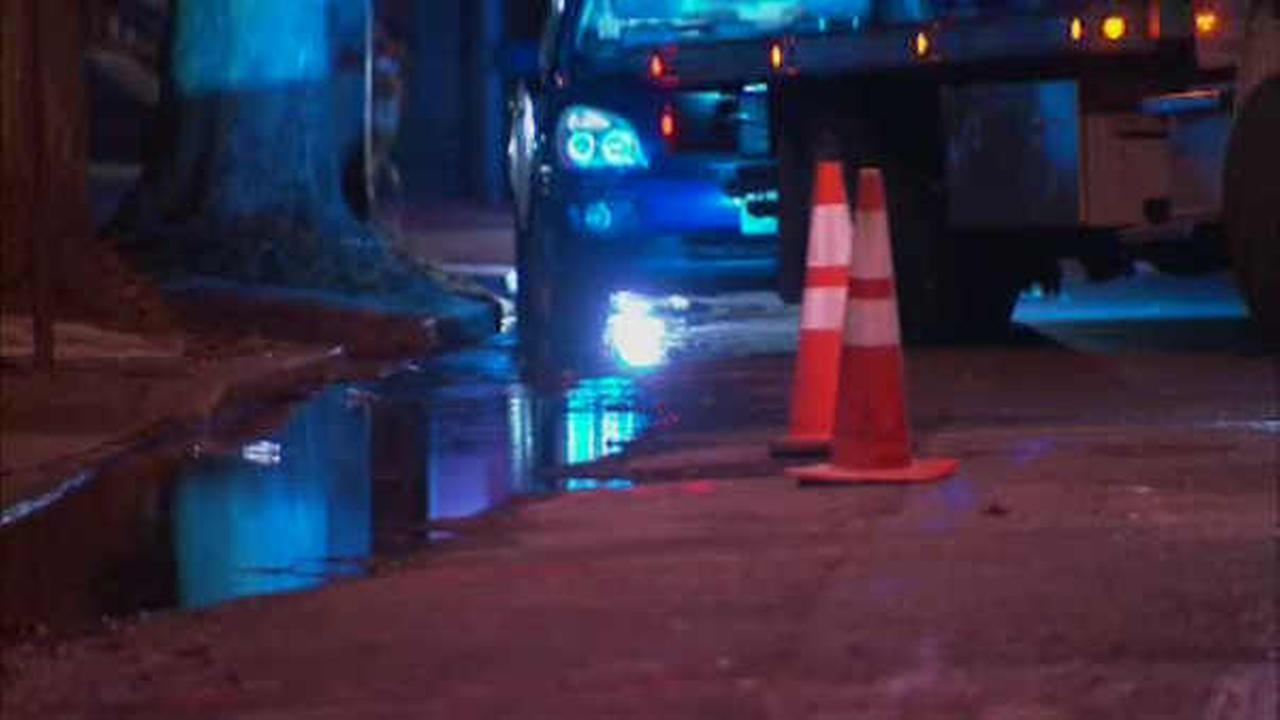 Crews were on the scene of a water main break in Jersey City Sunday.