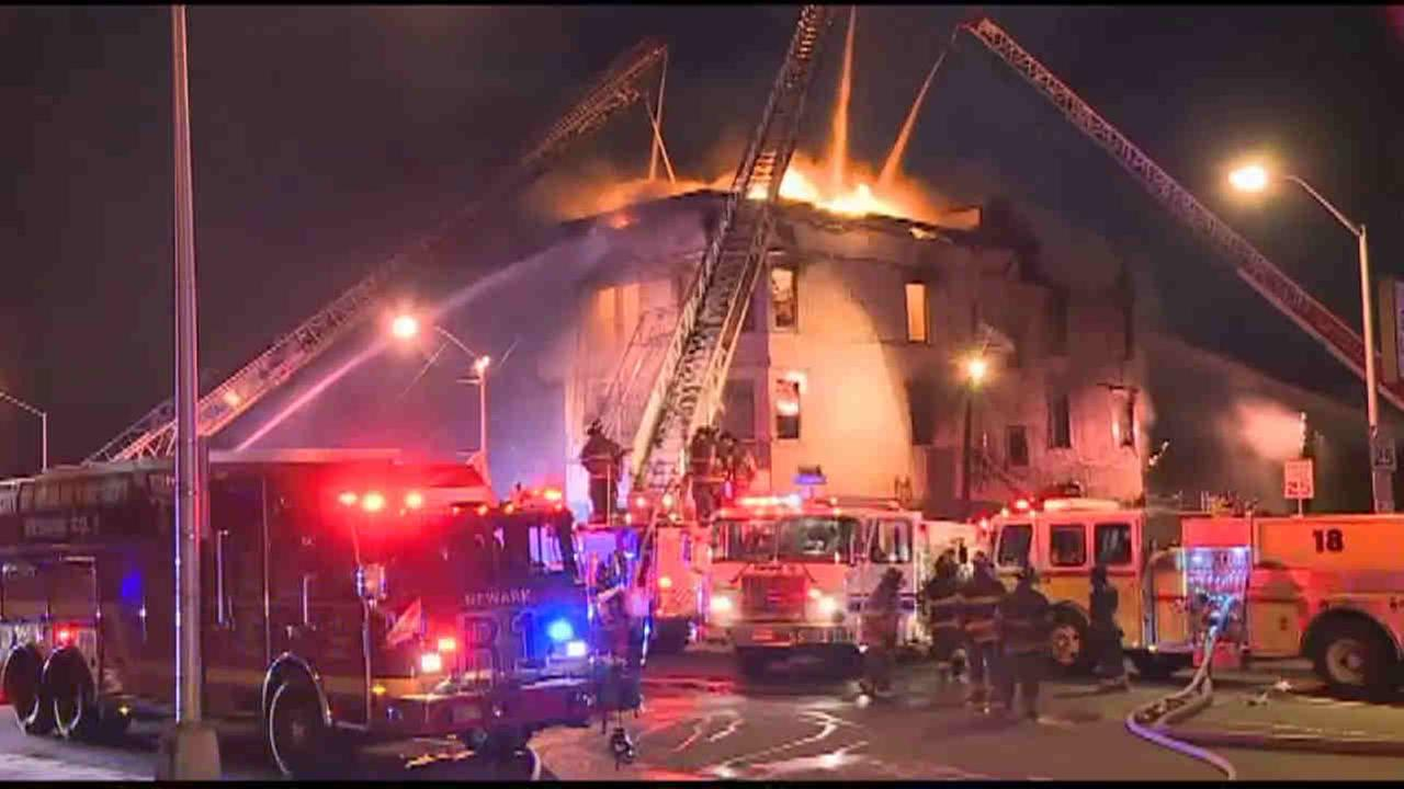 The fire broke out inside the American Legion hall on Elizabeth Avenue in Newark at around 5:15 a.m. Thursday.