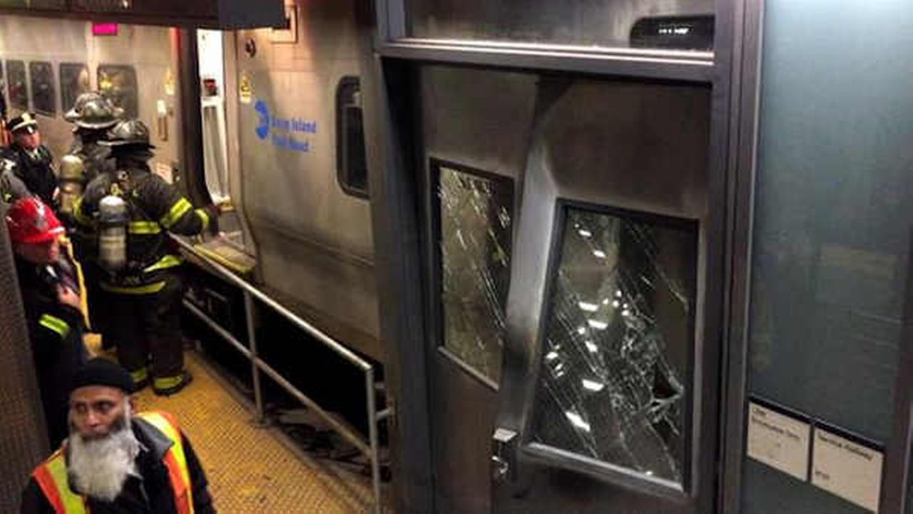 An LIRR train crashed into the end of a platform at Brooklyns Atlantic Terminal.
