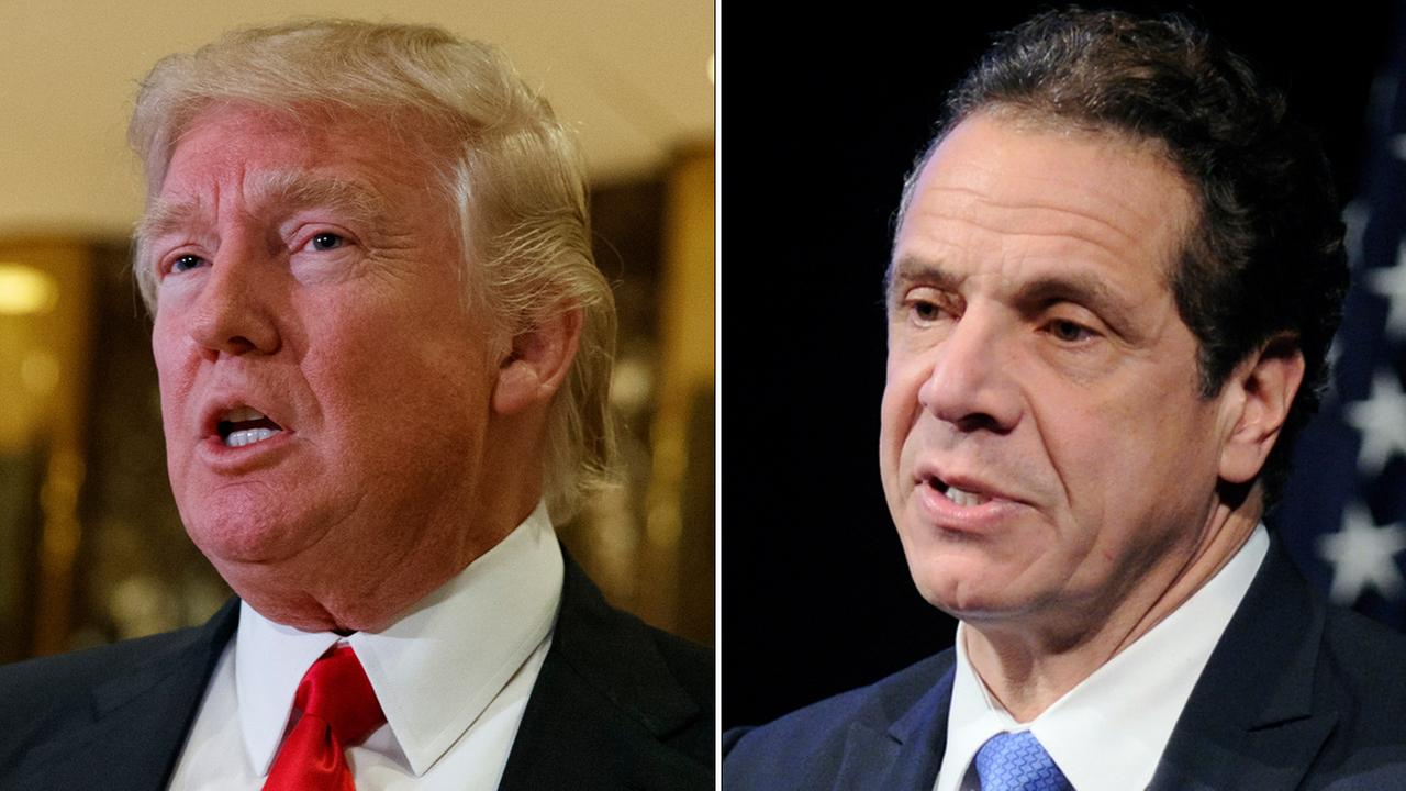 Donald Trump (left) and New York Governor Andrew Cuomo