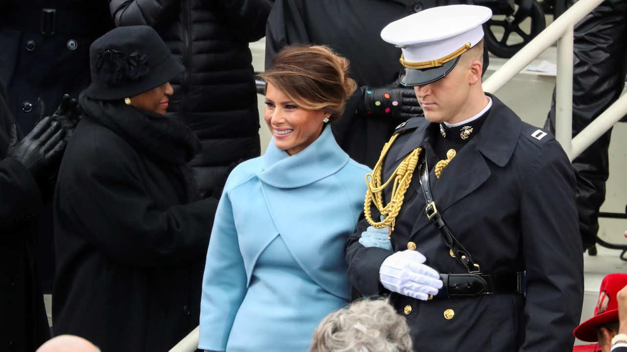 President-elect Donald Trumps wife Melania Trump arrives during the 58th Presidential Inauguration at the U.S. Capitol in Washington, Friday, Jan. 20, 2017.