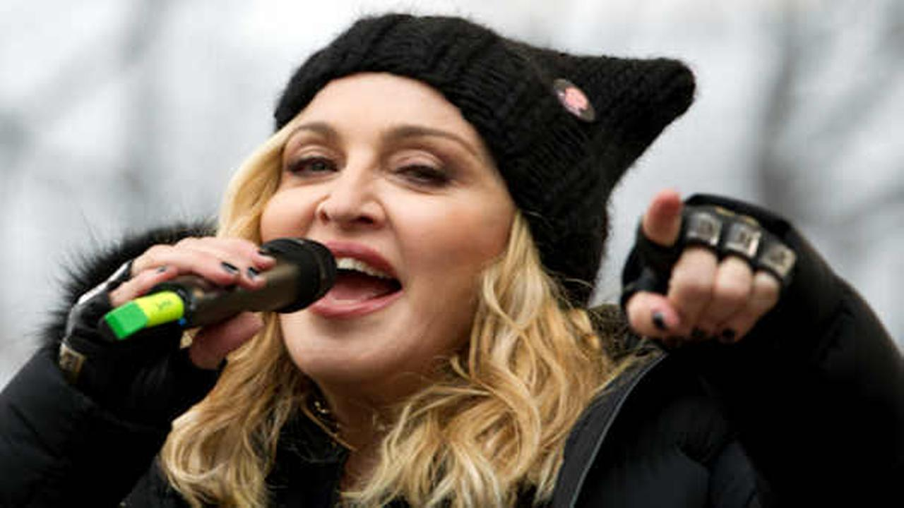 Madonna performs on stage during the Womens March rally, Saturday, Jan. 21, 2017   (AP Photo/Jose Luis Magana)