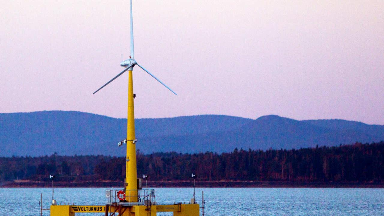 This Friday, Sept. 20, 2013 file photo shows the countrys first floating wind turbine works off the coast of Castine, Maine.
