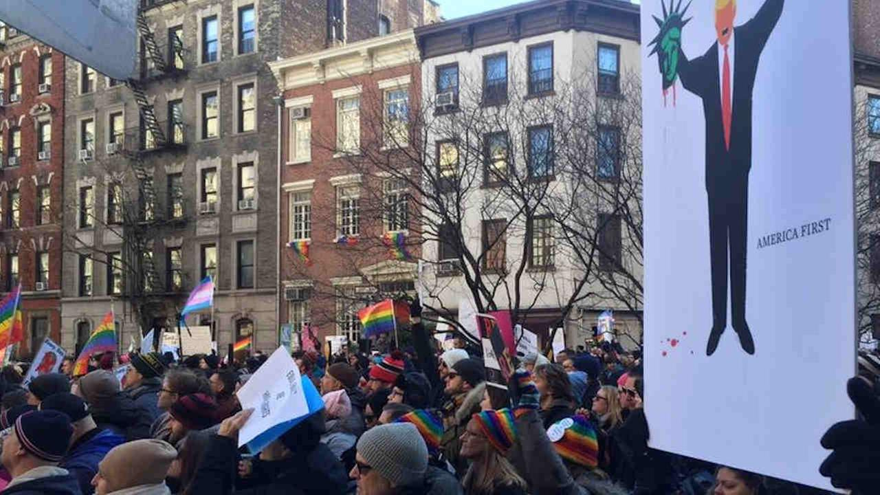 Activists are rallying outside the historic Stonewall National Monument Saturday to combat discrimination.