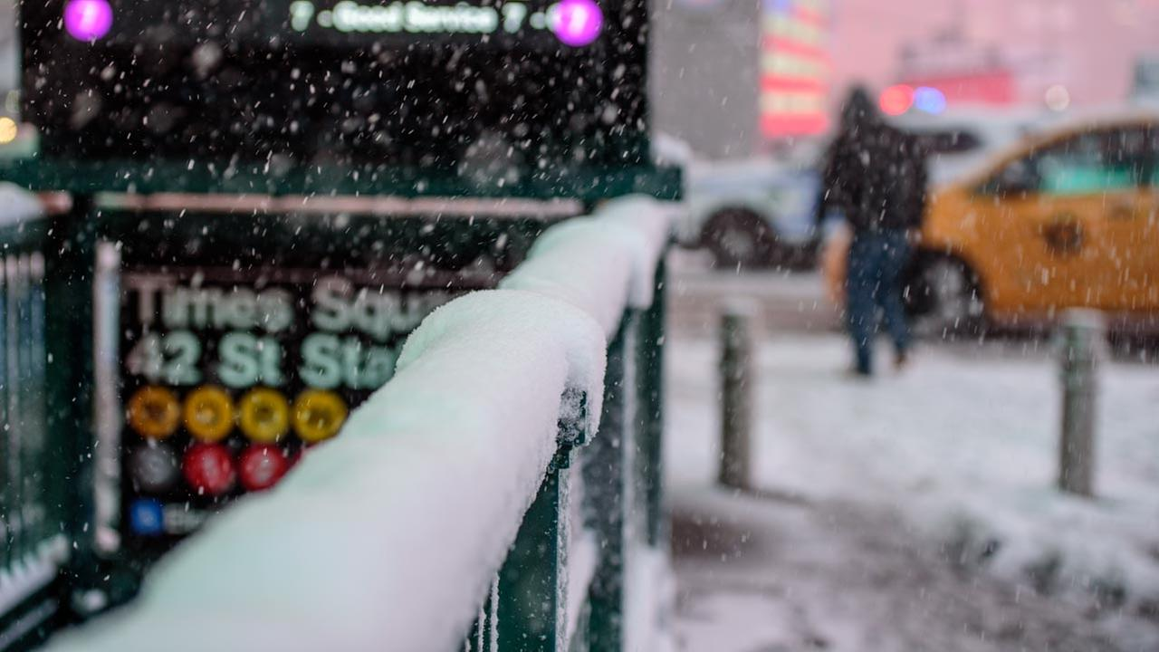 A snowstorm blasts through New York Citys Times Square on Thursday, February 9, 2017.