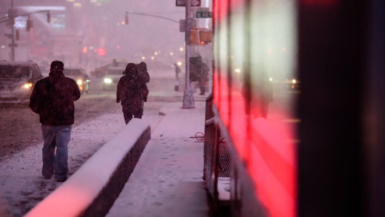 A snowstorm blasts through New York Citys Times Square on Thursday, February 9, 2017.WABC Photo/Mike Waterhouse