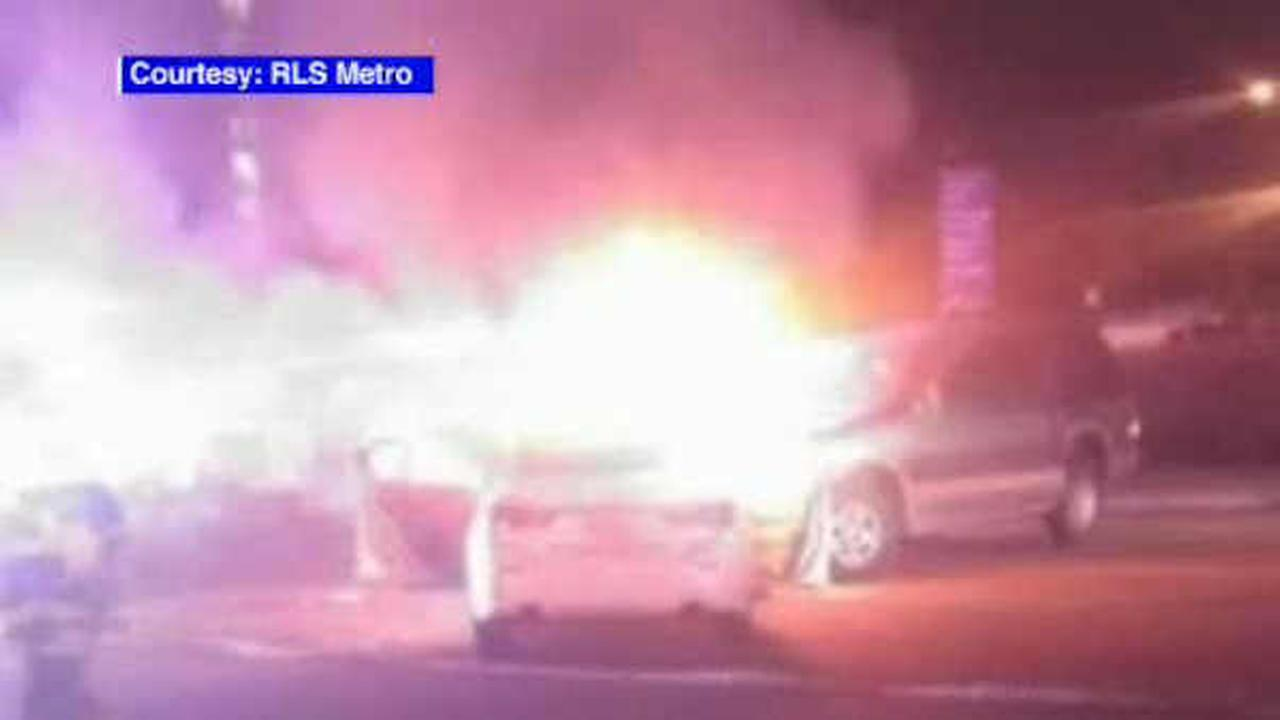 Police pursuit of stolen car ends in fiery head-on crash in Newark