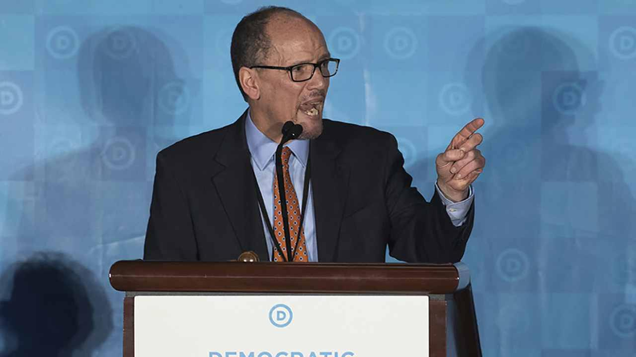 Former Labor Secretary Tom Perez, who is a candidate to run the Democratic National Committee, speaks during the general session of the DNC winter meeting in Atlanta, Saturday.
