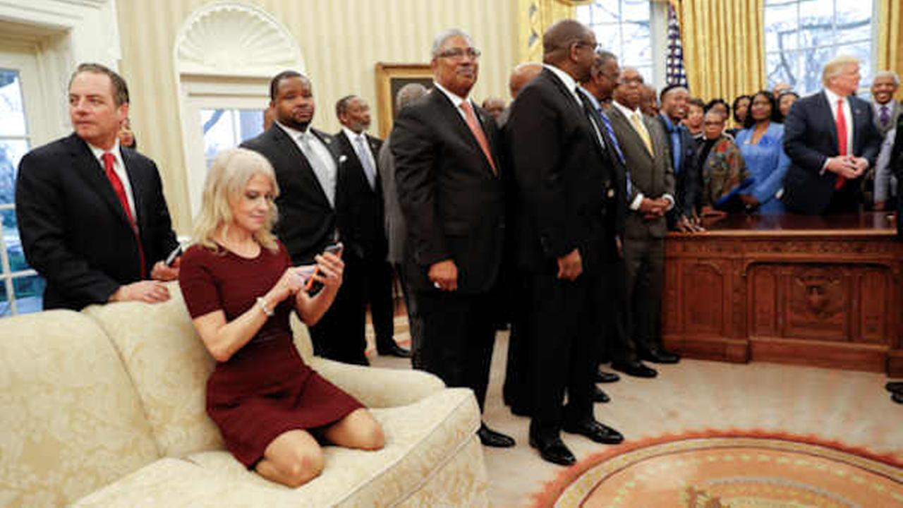 Counselor to the President Kellyanne Conway on the Oval Office couch.during a White House meeting with leaders of black colleges Monday.  (AP Photo/Pablo Martinez Monsivais)