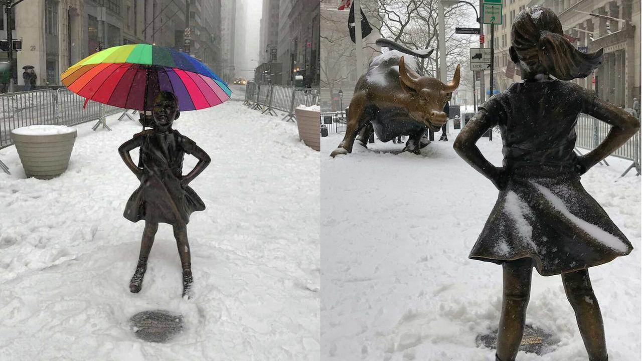 Wall Street 'Fearless Girl' statue gets protection from the elements during snowstorm