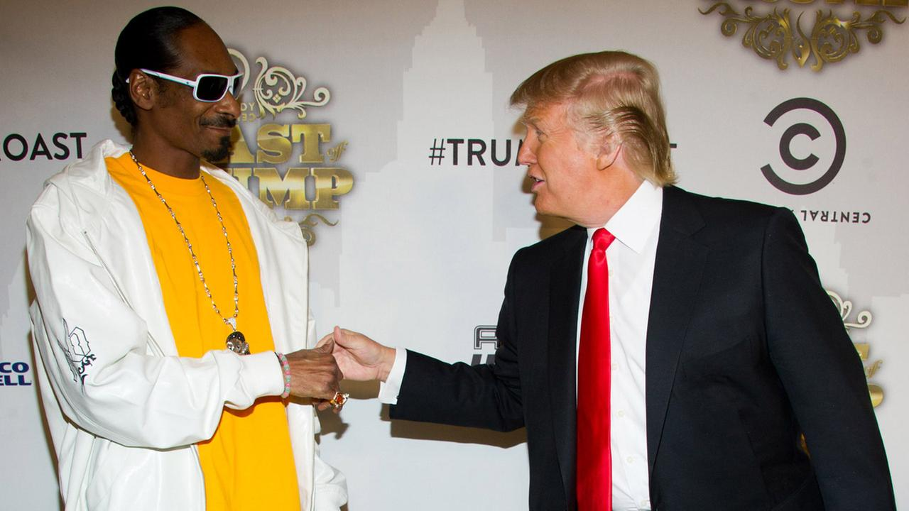 Snoop Dogg, left, and Donald Trump arrive to the Comedy Central Roast of Donald Trump in New York, Wednesday, March 9, 2011.