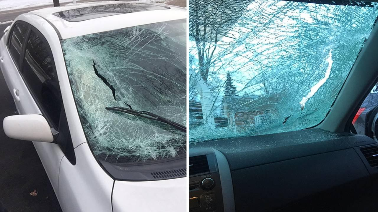 Flying ice from tractor trailer smashes car's windshield on Long Island Expressway