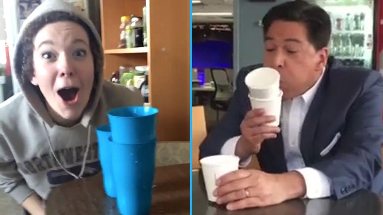 Forget flipping water bottles! #CupBlowingChallenge sweeps social media