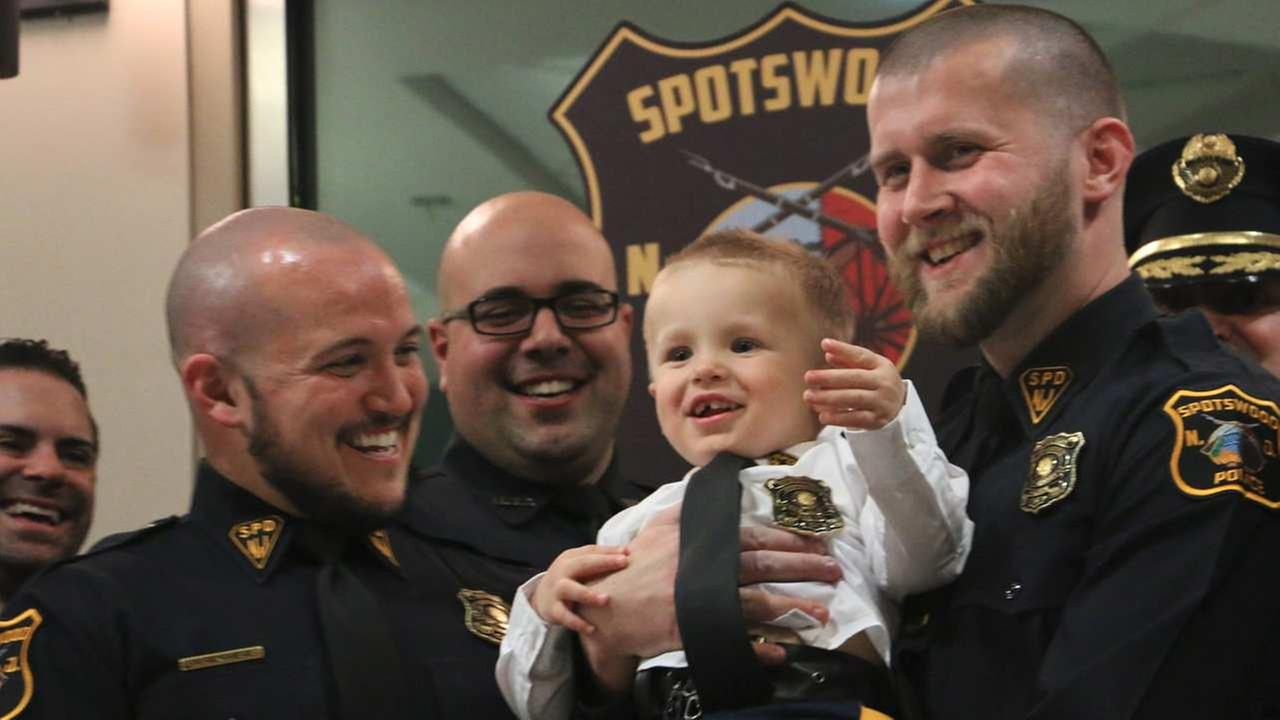 2-year-old with rare genetic disorder sworn in as New Jersey's youngest police officer