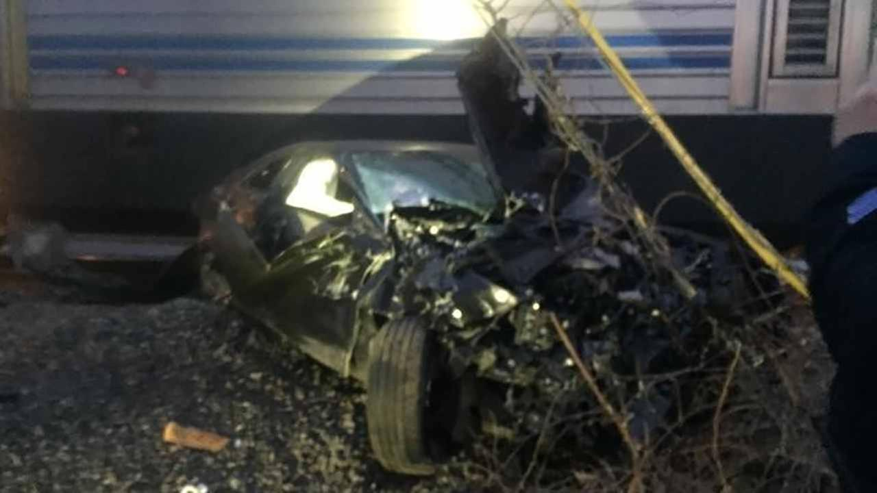 A Long Island Rail Road train crashed into a car on the tracks Saturday.