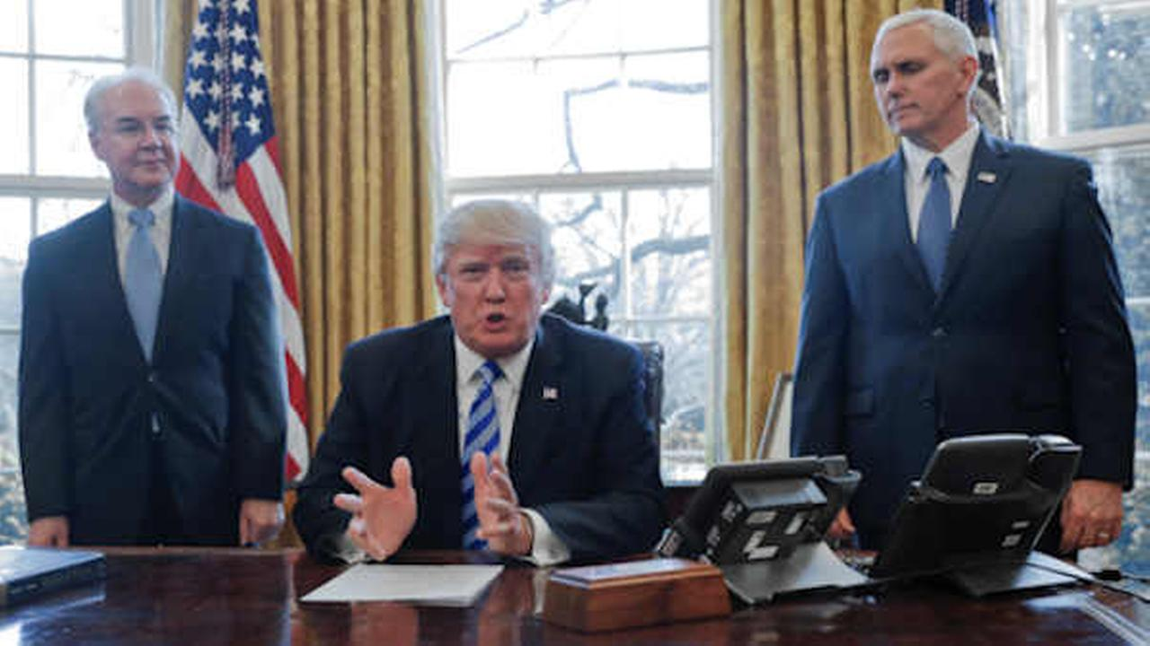 President Trump, flanked by Health and Human Services Secretary Tom Price, left, and Vice President Mike Pence, right, addressing the media regarding the health care bill.