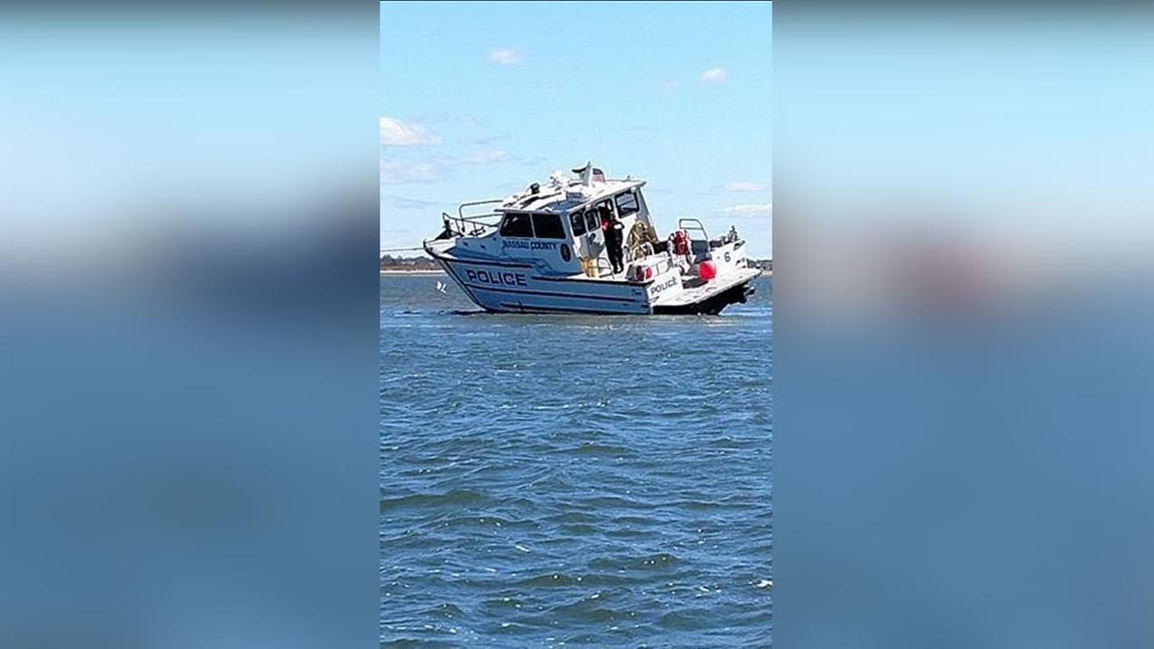 Nassau County Marine boat runs aground in Wantagh