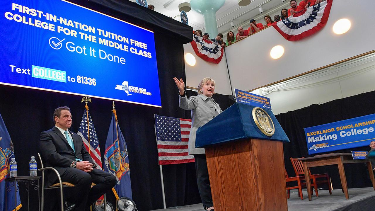 Hillary Clinton addresses the audience at LaGuardia Community College  (Darren McGee/Office of Governor Andrew M. Cuomo via AP)