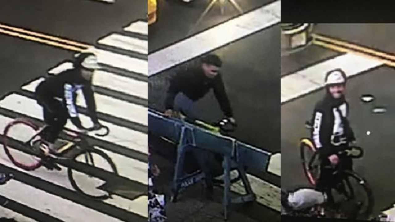 Two men are wanted in a series of robberies on bicycles.