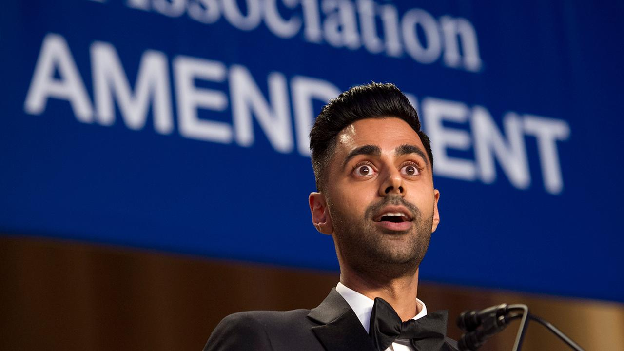 The Daily Show correspondent Hasan Minhaj entertains the guests at the White House Correspondents Dinner in Washington, Saturday, April 29, 2017. (AP Photo/Cliff Owen)