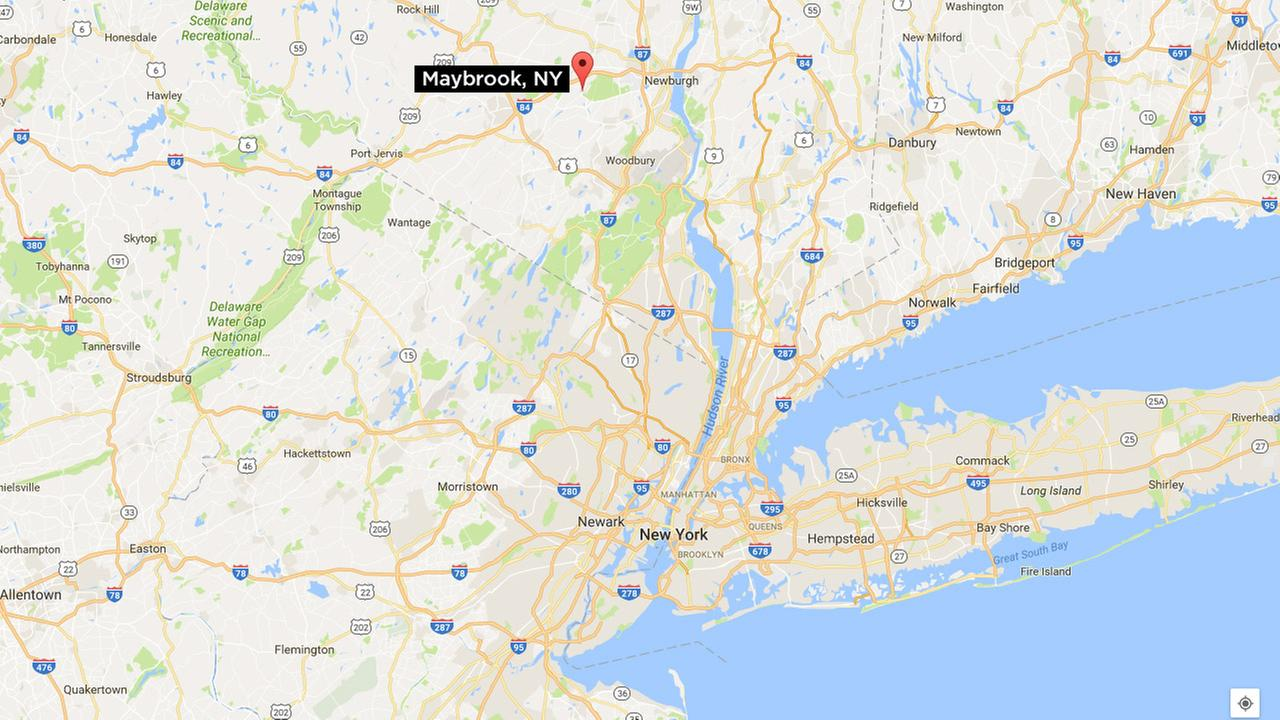Maybrook is 70 miles northwest of New York City and has a population of  3,000. A map showing where Maybrook is in proximity to New York: