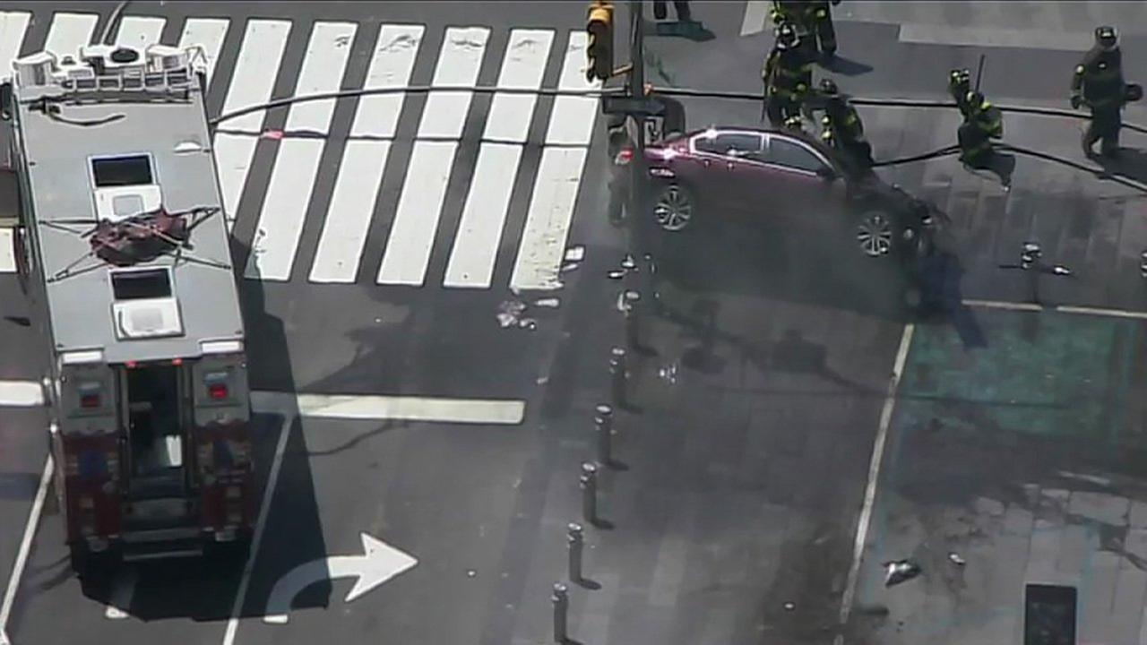 The car crashed at west 44th Street and Seventh Avenue, striking multiple pedestrians.