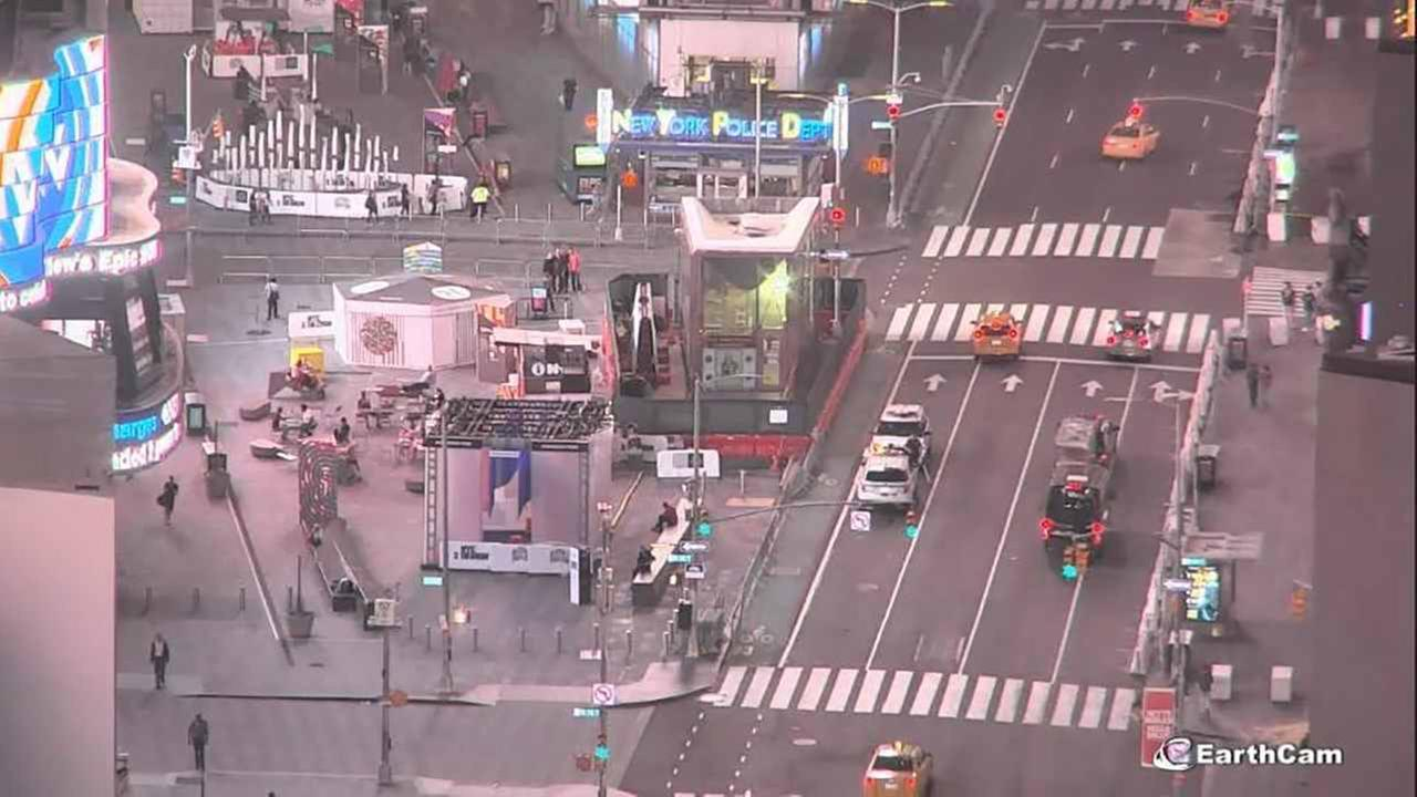 Barricades were put up along Seventh Avenue in Times Square. This shows the west side of the area.