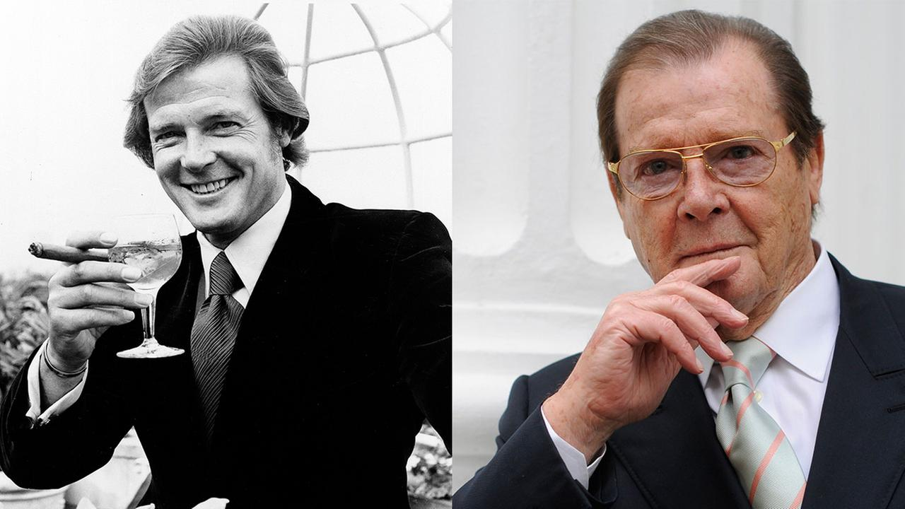 (Left) Roger Moore poses at the Dorchester Hotel in 1972 after the announcement was made that he will play James Bond; (Right) Moore poses for a portrait in Germany in 2009