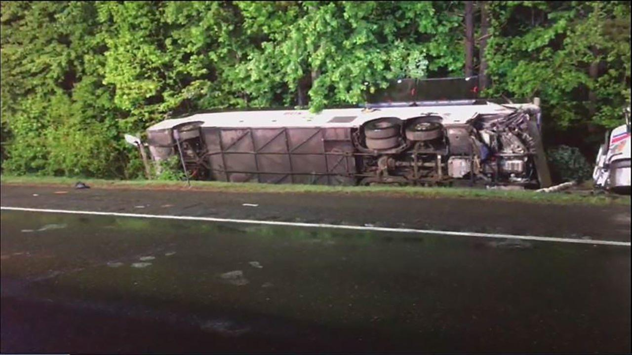 Bus flips and tractor-trailer jackknifes in New Jersey early Friday.