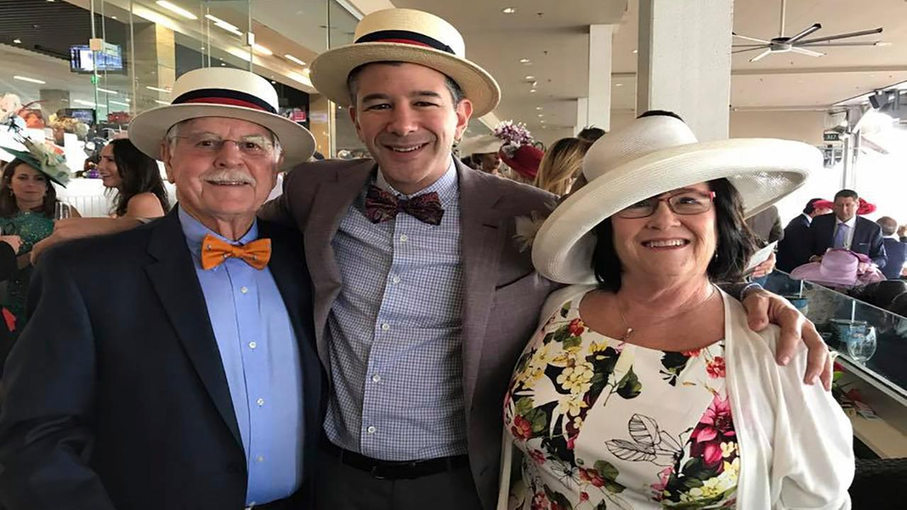 In this May 6, 2017 photo provided by Travis Kalanick, Uber Chief Executive Officer, Kalanick, center, poses with his mother, Bonnie, right, and father, Donald Kalanick, left