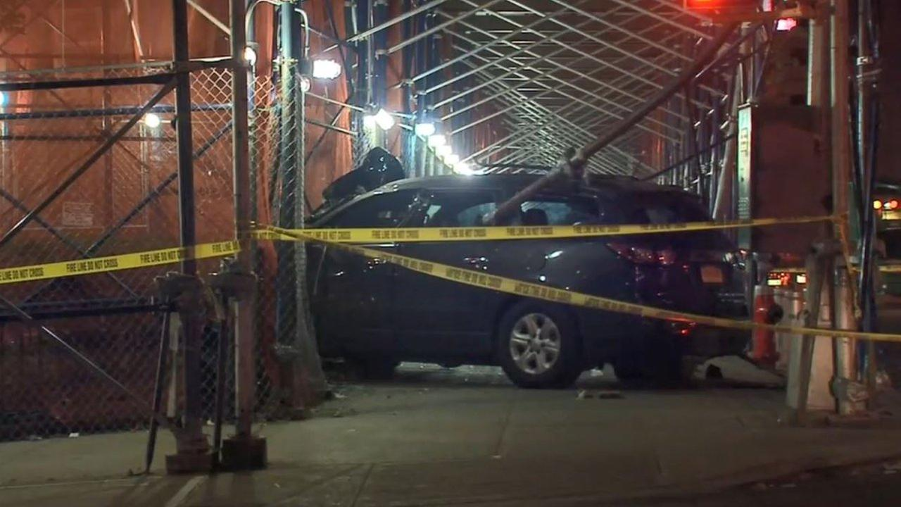 A car plowed into scaffolding on Amsterdam Avenue and West 61st Street Wednesday.