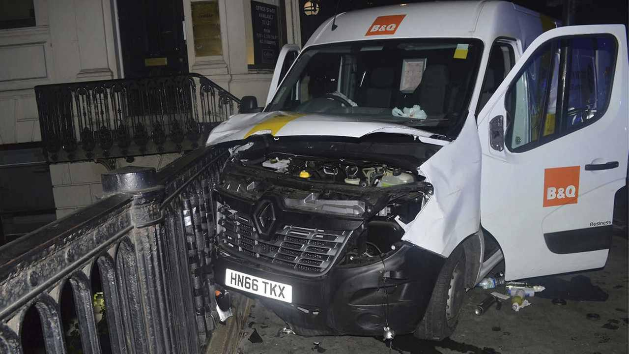 A photo issued by the Metropolitan Police, London, and made available Saturday, of the van used in the London Bridge attacks June 3.
