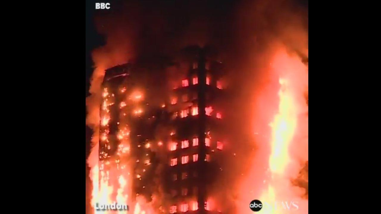 Residents being evacuated from burning building